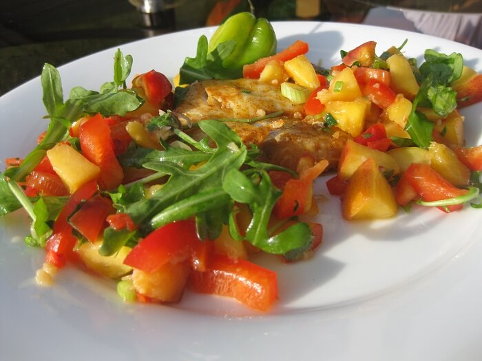 Grilled Sweet Halibut with Pepper And Peach Salsa