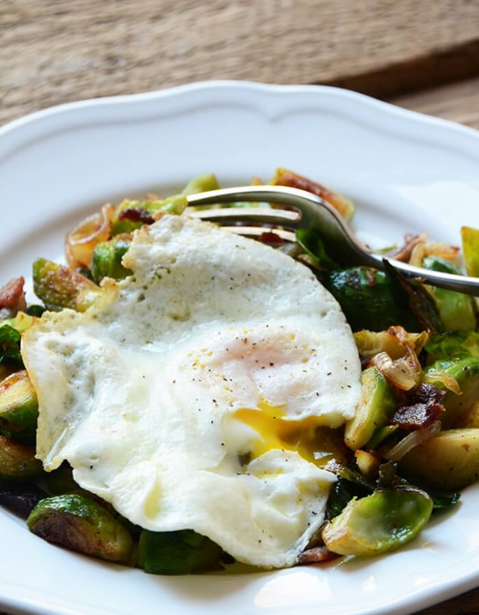 Fried Brussels Sprout Egg Hash