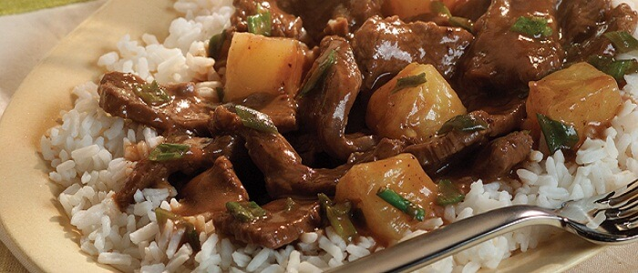 Stir Fried Beef Served With Garlic Rice