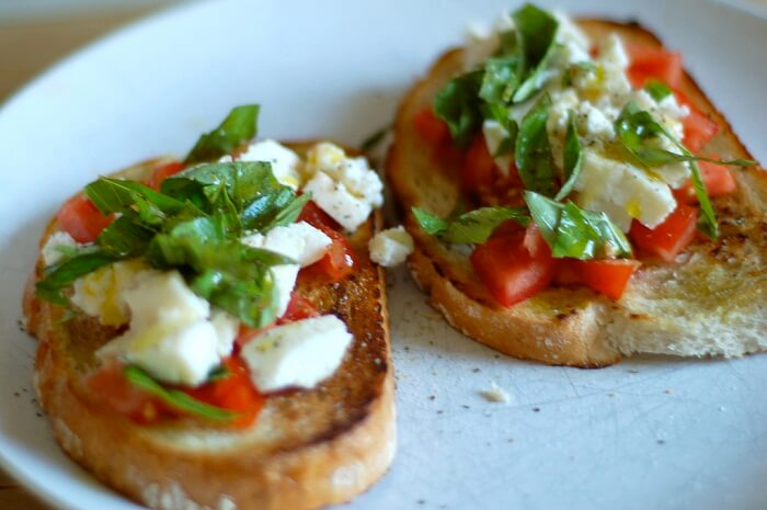 Bruschetta With Mozzarella, Basil And Tomatoes