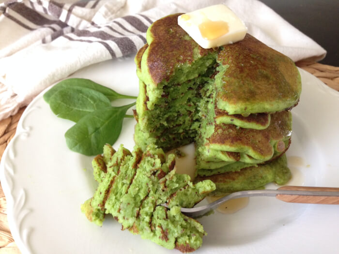Stack-of-Green-Pancakes-with-Syrup